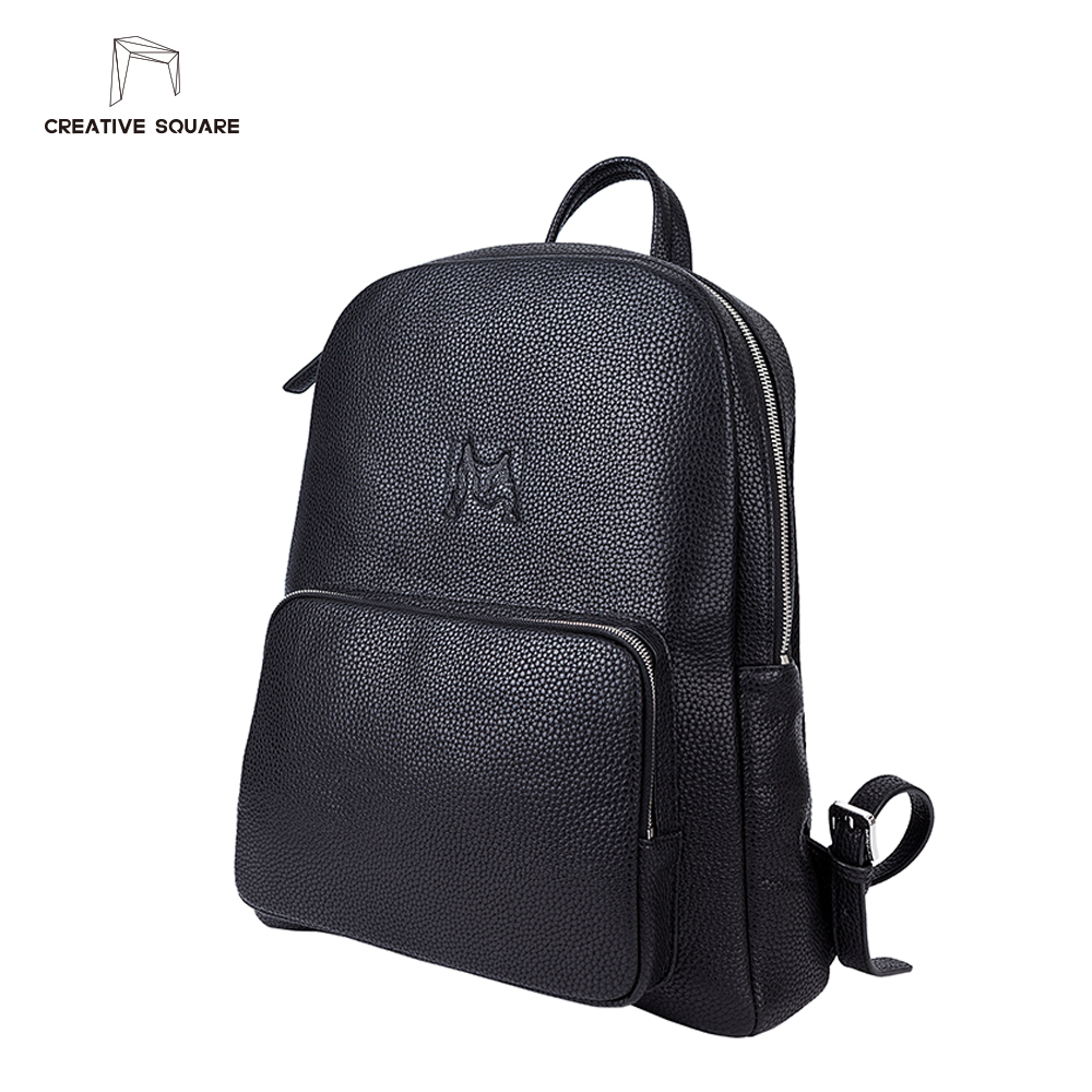4d618acf2e4c Creative Square luxury brand leather backpack men original design simple black  backpack fashion plain teenage schoolbag backpack-in Backpacks from Luggage  ...