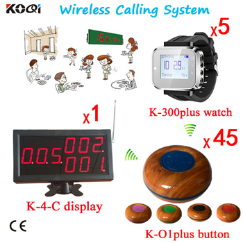 Wireless Calling Pager System for Restaurant Push Button ( 1pcs Panel Display With 5pcs Wrist Watch and 45pcs Bell Buzzer)
