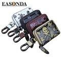 Skull Genuine Leather Car Key Holder Mini Zipper Key Wallets Simple Vintage  Key Bag Portachiavi Pelle a Portafoglio