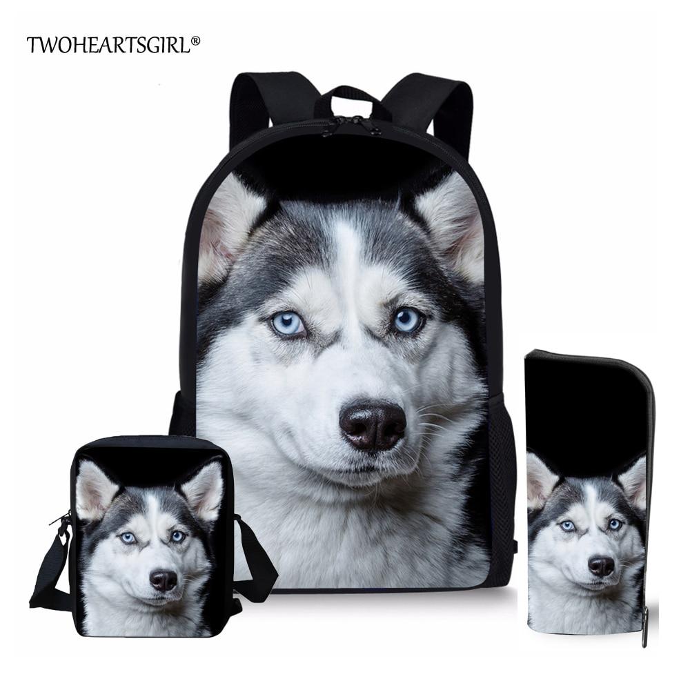 Twoheartsgirl Boys Schoolbag Teenager Boys Cool Siberian Husky Prints School Bag Set Animal Pattern Children Daily Back Pack