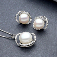 Sinya Natural pearl fine jewelry set include Earring Necklace in 925 Sterling silver pearl diameter 10 12mm 2019 new arrival