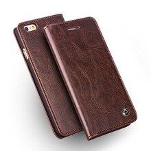 Funda de qialino para iphone 6/6s hecha a mano de cuero genuino para iphone 6/6s plus funda de lujo Ultra delgada con tapa 4,7/5,5