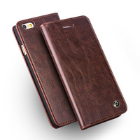 QIALINO Case For IPhone 6 6s Handmade Genuine Leather Wallet Cover For Iphone 6 6s Plus