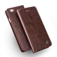 QIALINO Etui do iPhone 6/6 s Handmade Genuine Leather Wallet Pokrywa dla iphone 6/6 s plus luksusowy Ultra Slim Odwróć Kabura 4.7/5.5