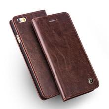 QIALINO สำหรับ iphone 6/6s Handmade กระเป๋าสตางค์หนังแท้สำหรับ iphone 6/6s plus Ultra Slim Flip Holster 4.7/5.5