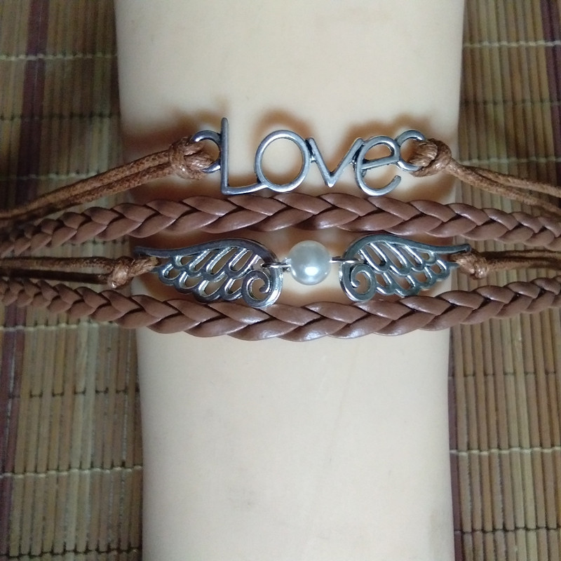Top Quality Punk Style Braided Leather Bracelet Wax Cord Silver LOVE Symbol Wing Bracelet Fashionable Women Jewelry 11 Colors