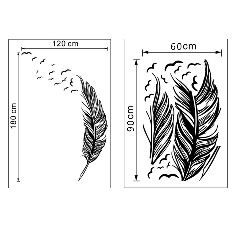 wall sticker vinyl birds flying feather bedroom home decal