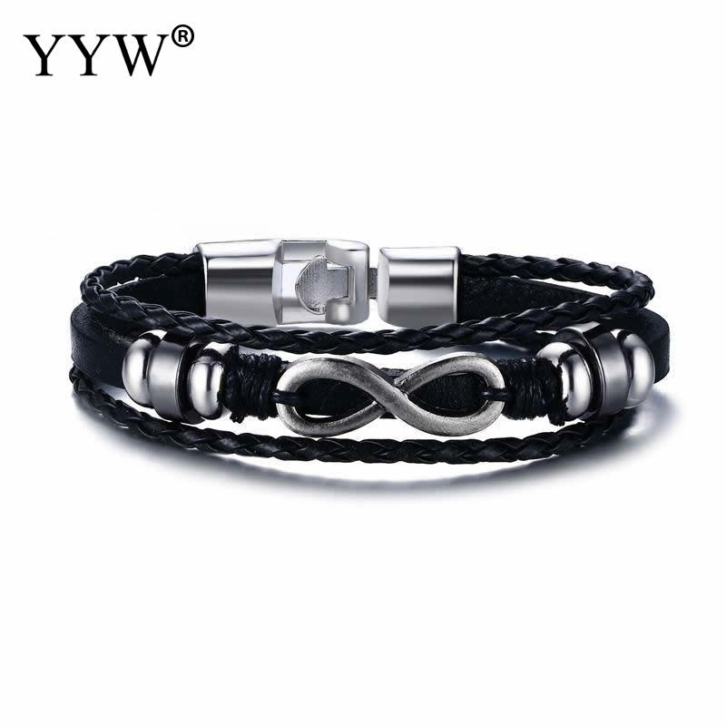 Black Handmade Braided Rope Leather Bracelet For Men Punk Style Layered Charms Cuff Bracelet Bangles 7.8 Inch Strand