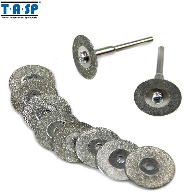 Tasp 10 pieces 20mm dremel diamond cutting disc rotary tools accessories set with mandrel 3 2mm