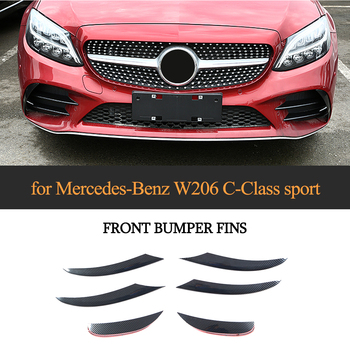ABS Glossy Black Carbon Look Silver Front Bumper Lip Fender Trim Air Vent For Mercedes-Benz C Class W206 C200 C300 2019 image
