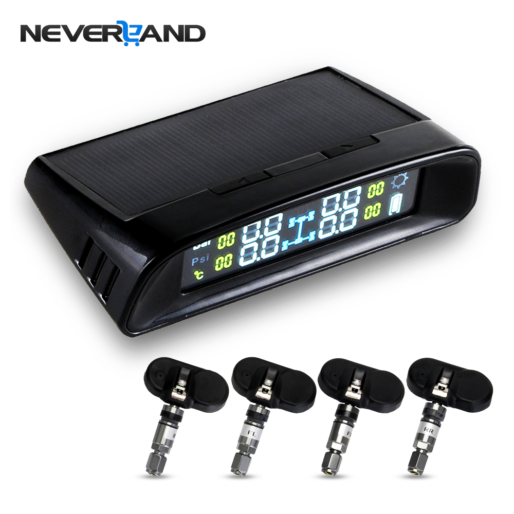 NEVERLAND TPMS LCD Display Car Wireless Tire Tyre Pressure Monitoring System 4 Internal Sensors For Cars Solar Power