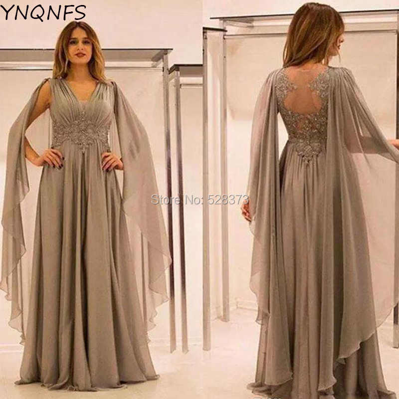 878842acea26 YNQNFS MD166 Saudi Arabia Mother of the Bride Groom Dresses Outfits Cape  Cloak Sleeves Sheer