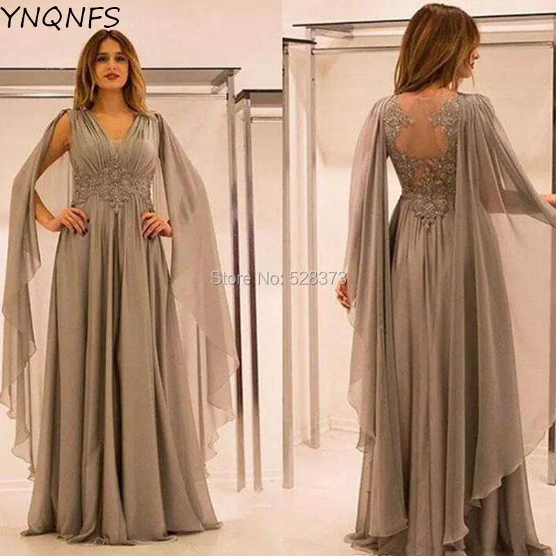 YNQNFS MD166 Saudi Arabia Mother Of The Bride/Groom Dresses Outfits Cape Cloak Sleeves Sheer Back Formal Dress 2019