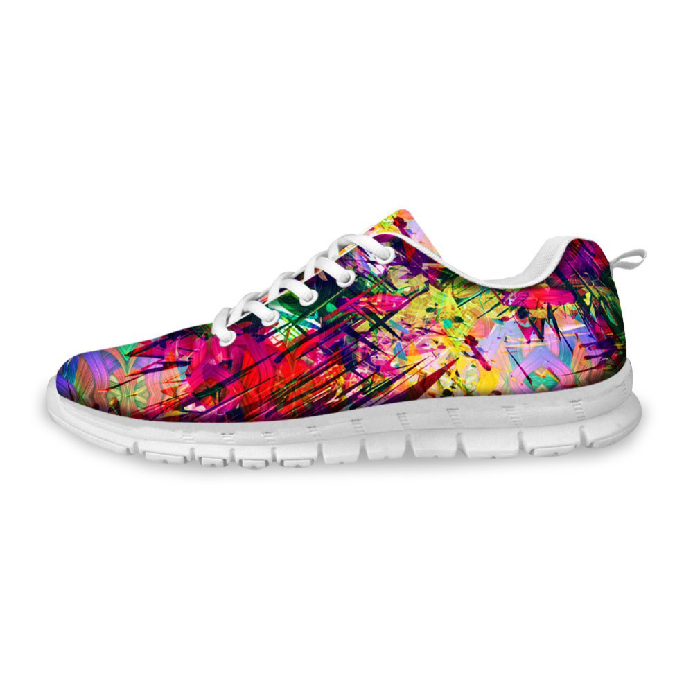 NOISYDESIGNS 3D Graffiti Prints Women Casual Shoes Autumn flat for Ladies Teenage Girls Flat Leisure Zapatos Mujer