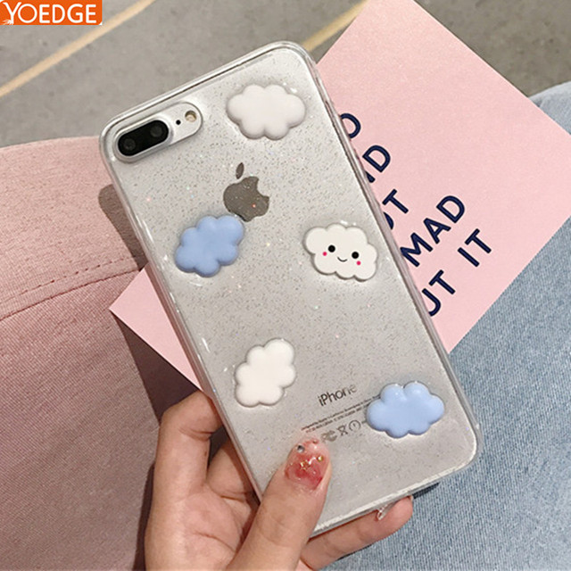 finest selection 76618 c00fb Transparent 3D Cute White Clouds Phone Case For iPhone 7 Plus X Soft TPU  Cartoon Cases Clear Cover For iPhone7 8 6 6s Plus-in Fitted Cases from ...
