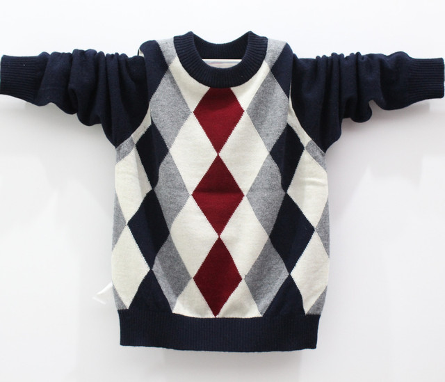 New year  male child pullover sweater child thin print sweater o-neck rhombus classic pattern  FREE SHIPPING