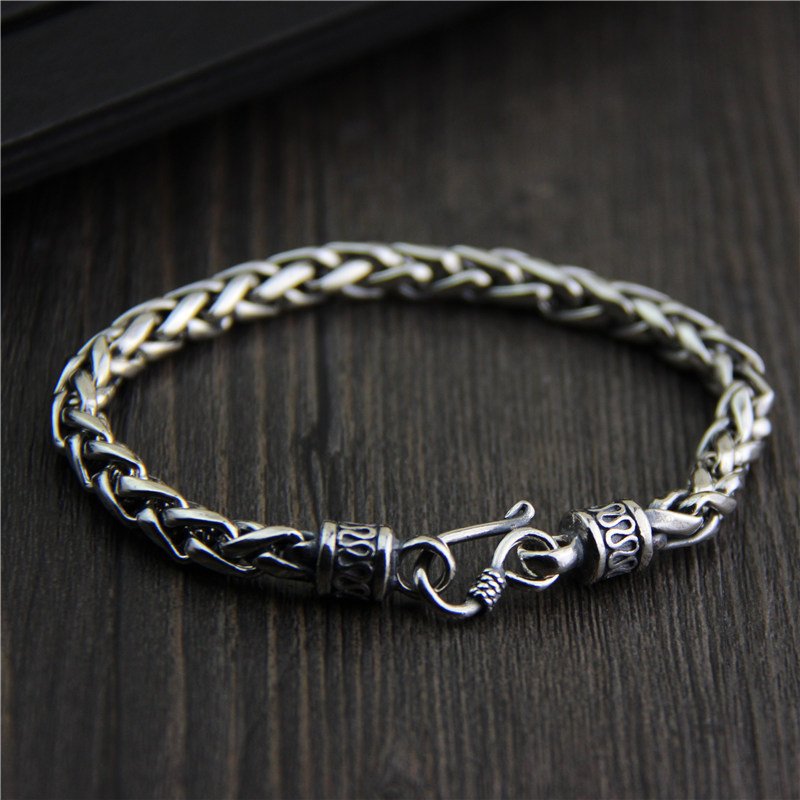 S925 Sterling Silver Silver Bracelet retro fashion jewelry made of old men and women pd2 ztung custom made pd2 bracelet sterling silver for women and men have heart for love