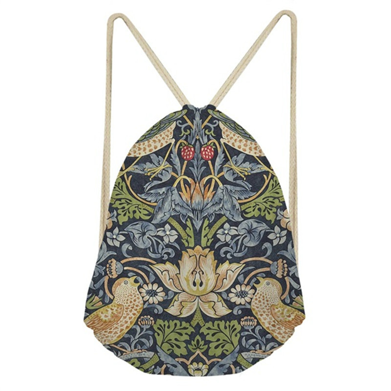 THIKIN William Morris Print Women Drawstring Bags Fashion Mini String Rucksacks For Female Reusable Storage Backpacks Wholesale