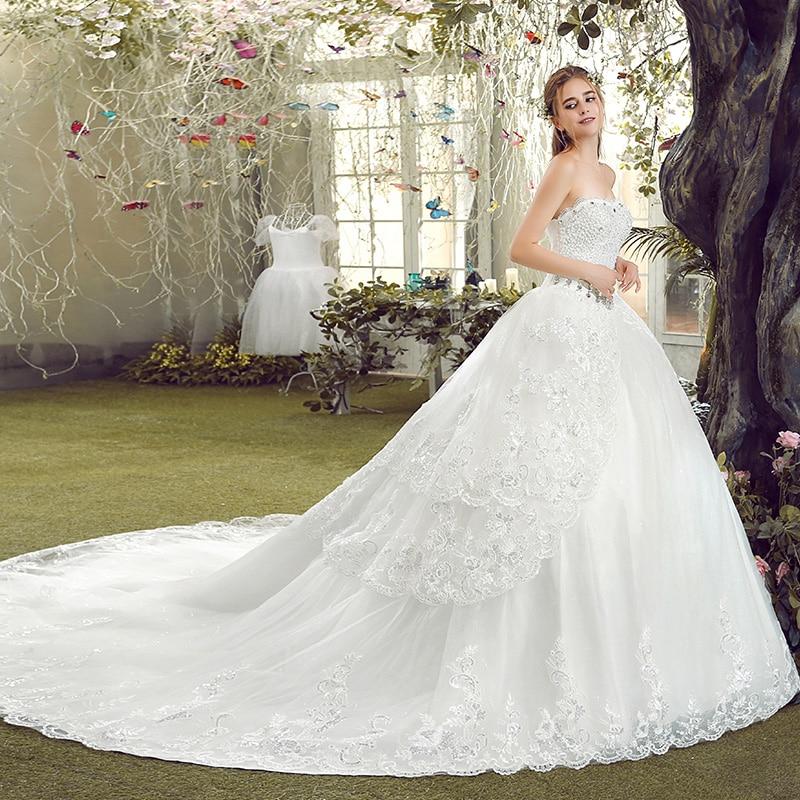 Real Photo White Strapless Sleeveless Lace Diamonds Long ...