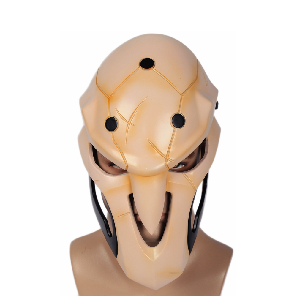X-COSTUME New Arrivals Hot Game OW Reaper Mask with Cosplay Props High Quality Soft Resin Beige Halloween Cosplay Mask For Mens