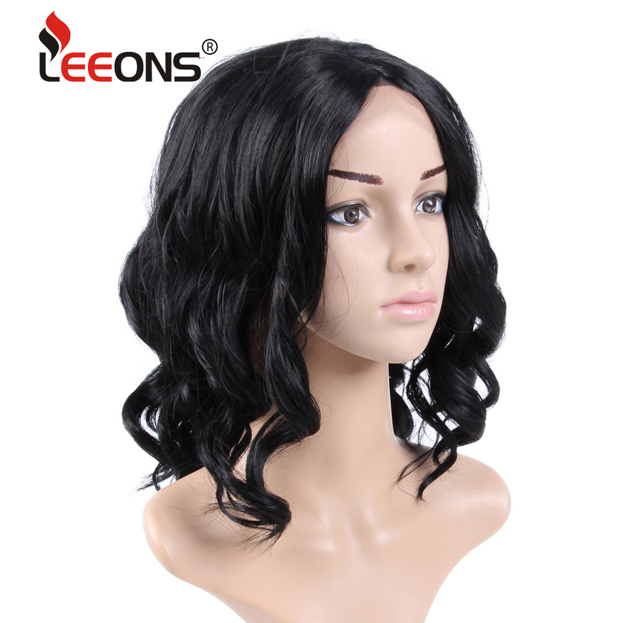 Leeons 16inch Synthetic Lace Front Wig Bob Heat Resistant High Temperature Fiber Black Roots 99j Lace Front Wig With Free Part