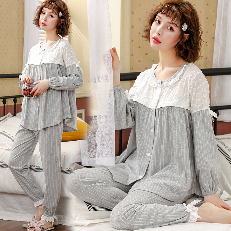 Cotton Maternity Nursing Pajamas Sets Spring Autumn Breastfeeding Sleepwear Clothes For Pregnant Women Pregnancy Nightwear Suits