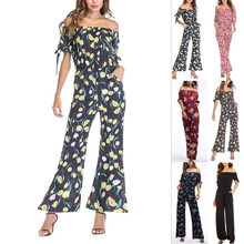 16905856814 Women s Lady Jumpsuit Boat Neck Loose Pants Bare Shoulder Vintage Chiffon  Summer JL(China)