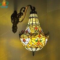 American-estilo cabaça seção de projeto da parede de flor de vidro Tiffany bar cafe Europeu villa cor antiga lâmpadas de arte