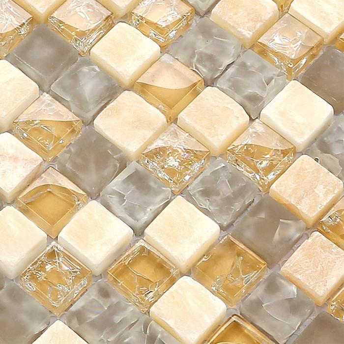 azulejos de mosaico de cristal de cristal y de metal mosaico de azulejos para bao cocina