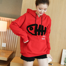 Pregnant women sweater red fashion autumn and winter women with cashmere sweater hooded hooded long sleeves pregnant women large