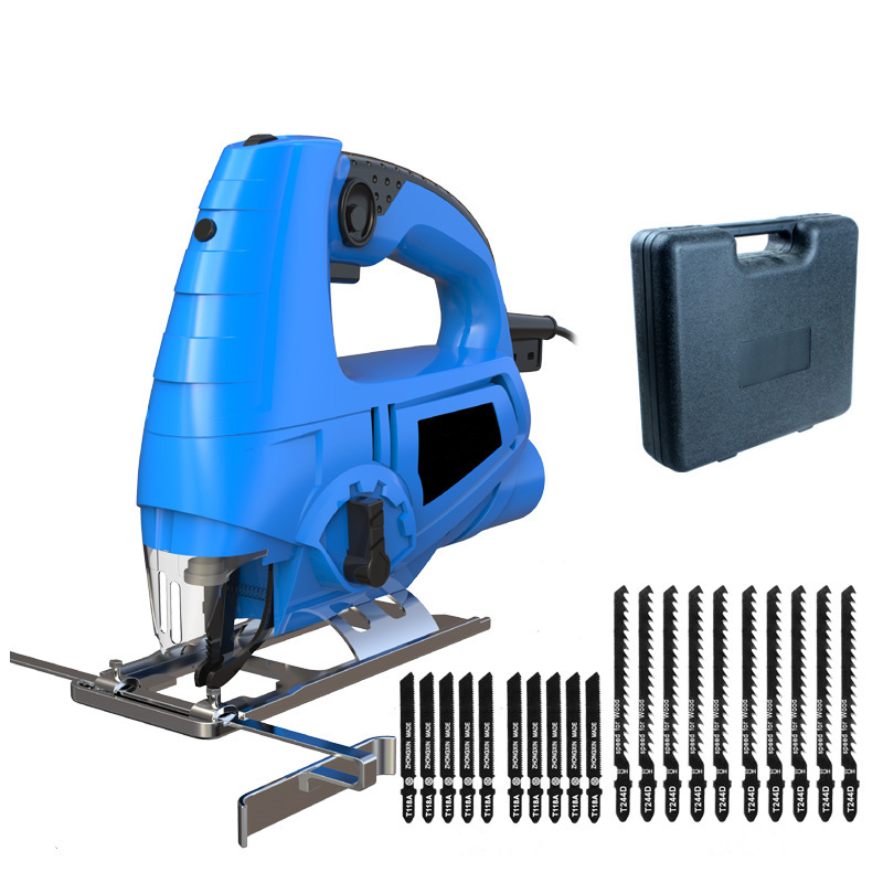 laser guide electric curve saw with 20pcs saw blade DIY electric woodworking jig saw multi-function dust free sawing machine metal ring pu leather tote bag