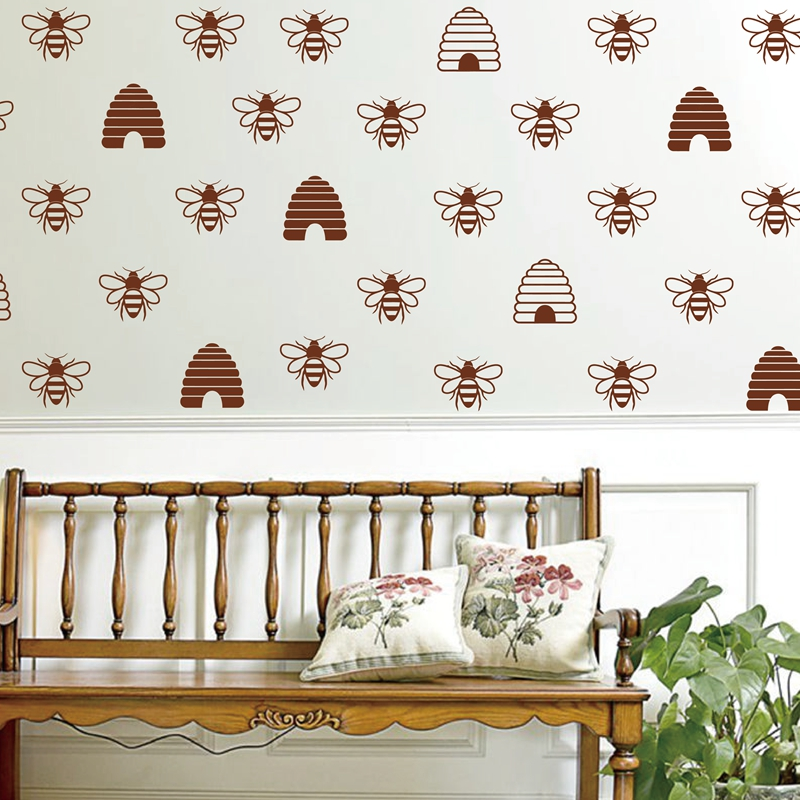 French Style Gold Bee Vinyl Mural Wall Decals Honey Beehive Wallpaper Stickers Home Decor In From Garden On
