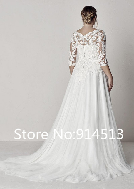 Elegant Tulle V-neck Neckline A-line Plus Size Wedding Dress With Sleeve Lace Appliques Backless Boho Beach Bridal Gowns 2