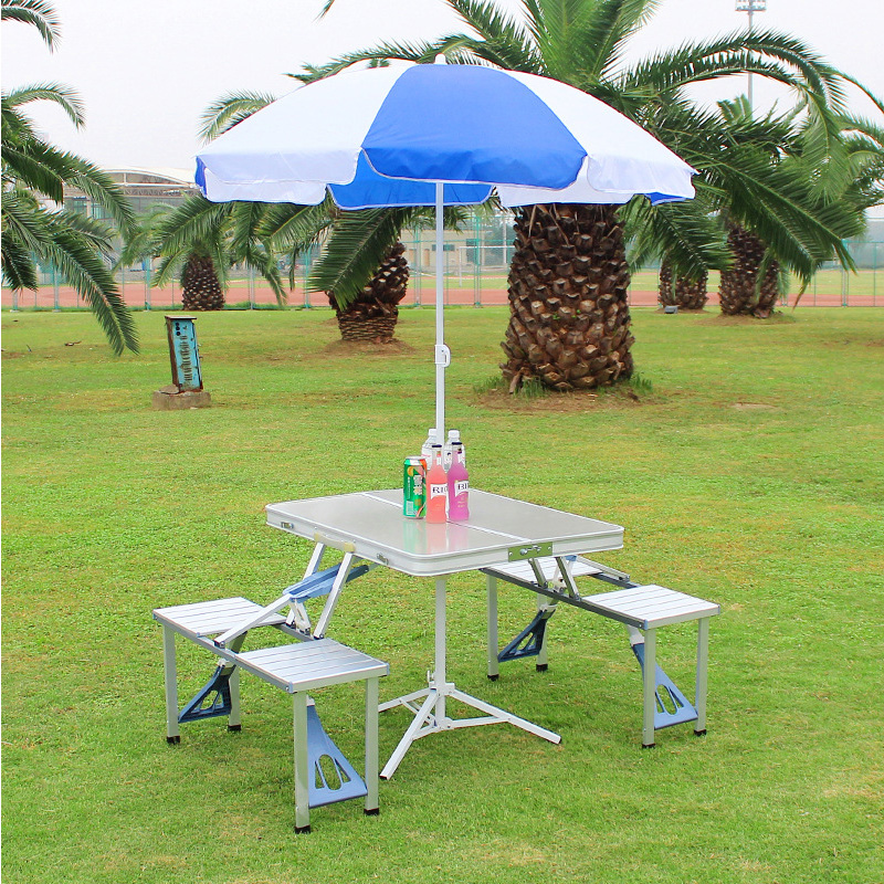 FOLDING OUTDOOR PICNIC TABLE UMBRELLA PLASTIC//METAL SET PATIO PORTABLE CAMPING