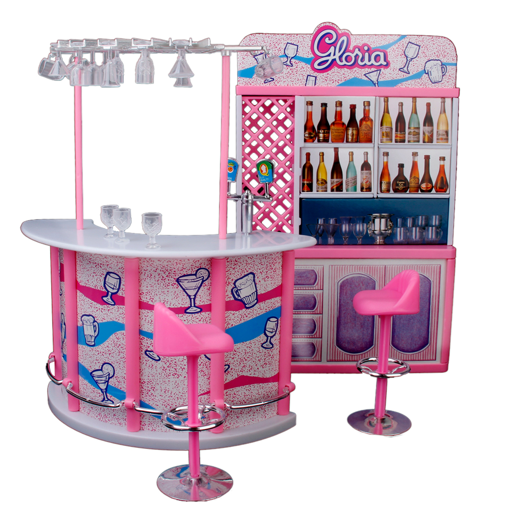 Plastic Gloria Dollhouse Furniture Bar Play Set For Dolls Classic 29cm Doll House Simulation