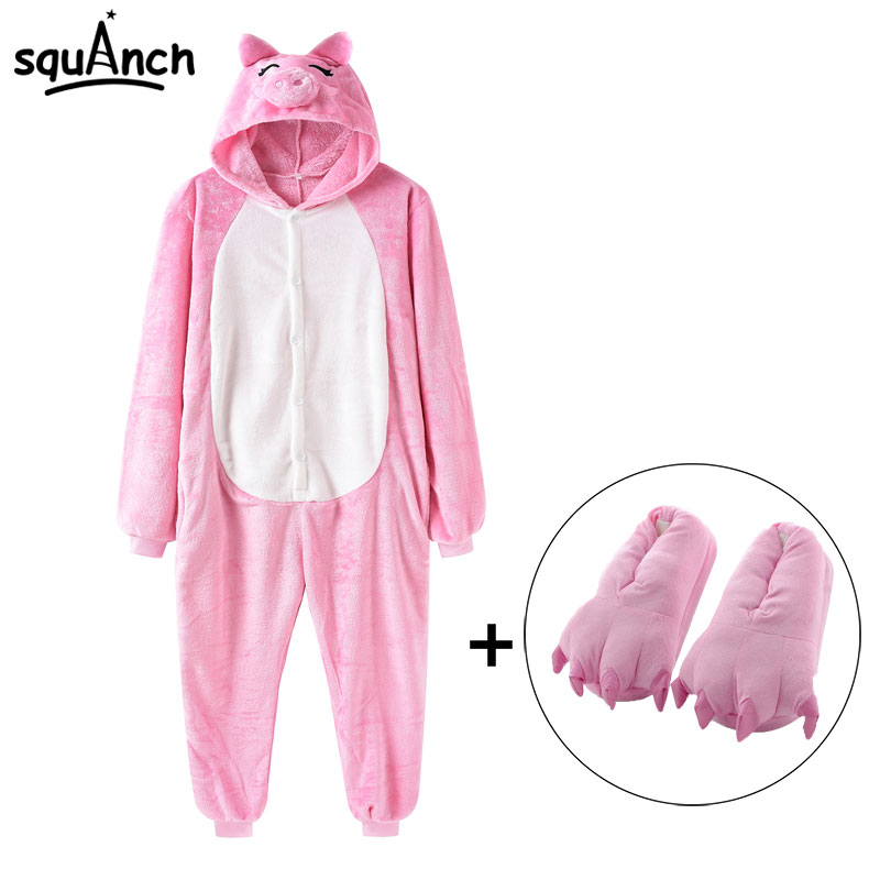 Animal Kigurumi Pink Pig Onesie Women Funny Cute Pajama Girl Couple Adult Party Suit Flannel Warm Winter Overalls With Slippers