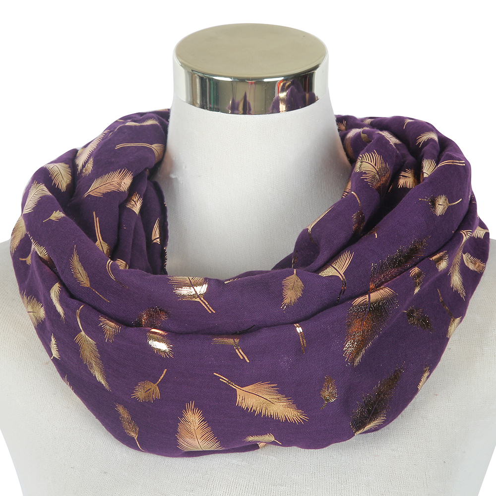 FOXMOTHER New Fashion Women Purple Yellow Blue Color Rose Gold Feather Foil Scarf Glitter Foulards Shawl Ladies Mother Gifts