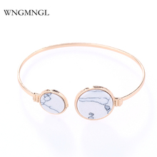 WNGMNGL 2018 New Simple Gold Color Female Bracelet Classic Elegant Statement Acrylic Geometric Bangles For women Fashion Jewelry