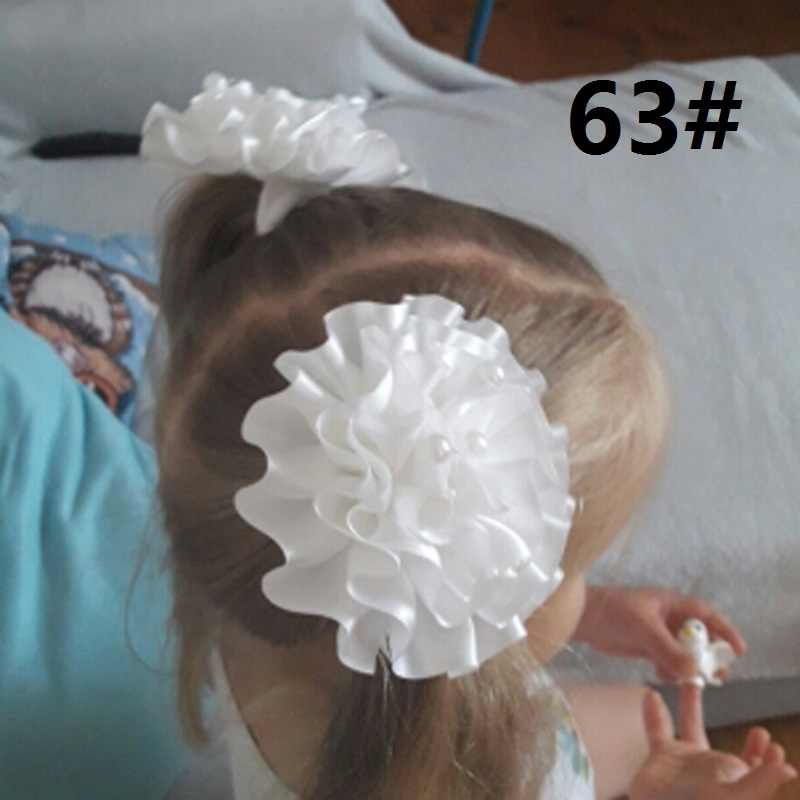 white chiffon flower 2pcs 10cm Girls Cute Pearl tassel Hair Children Lovely Hair Headbands Kids Fashion Children's day gift