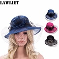 Retro Womens Sinamay Floral Veil Netting Cloche Church Hat Women Fascinator Summer Hats T148