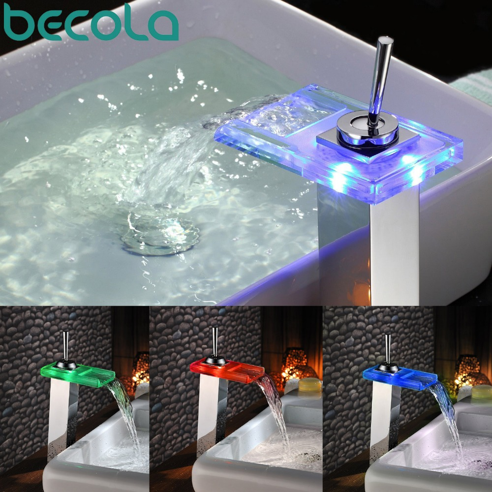 Becola glass sink faucet led waterfall tap chrome single - Bathroom faucets with led lights ...