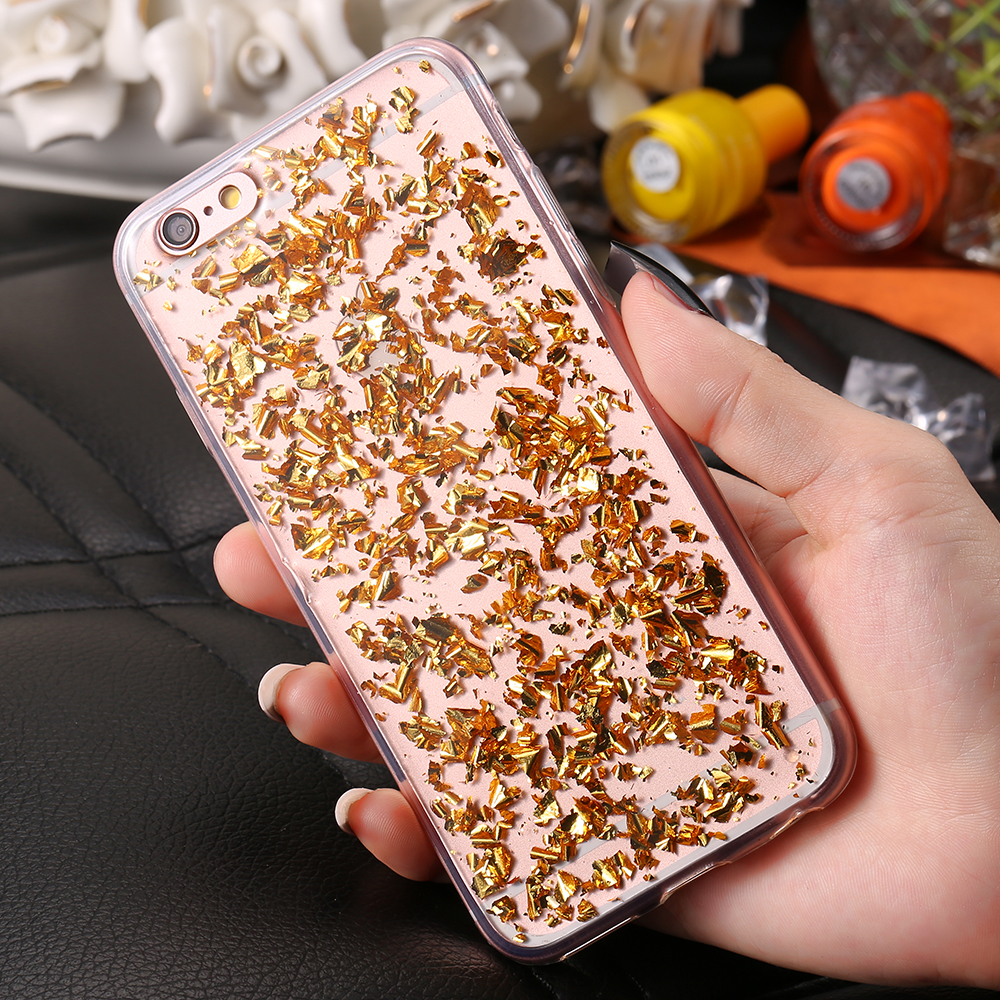 Hot Gold Bling Paillette Sequin Skin Clear Soft TPU Case For iPhone 6 6S  Slim Rubber Back Cover-in Half-wrapped Case from Cellphones    Telecommunications on ... b7df1b019