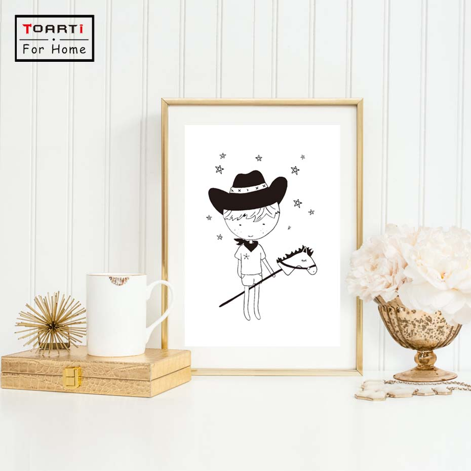 Western Cowboy Style Living Room Home Wall Art Cute Little Cow Boy Print Art Black White Canvas Painting Cuadros Decoration