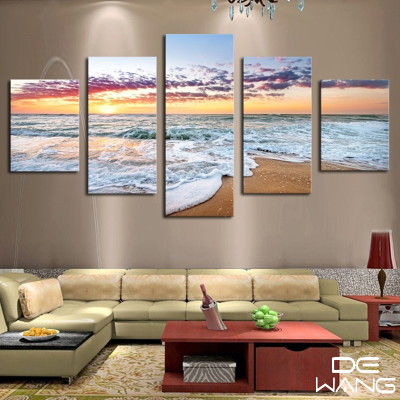 5 pieces canvas wall art prints wall picture for living for Wall picture frames for living room