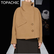 Cool Wool Coat Women Turtleneck Female Jacket Winter 2 Buttons Women's Jackets Bat Sleeve Cappotto di Inverno Delle Donne Khaki(China)