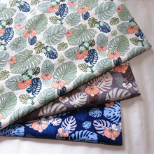 Pure Twill Cotton Fabric  Leaves Printed No Fluorescent Agent Use for Baby Sewing Quilt &sheet DIY