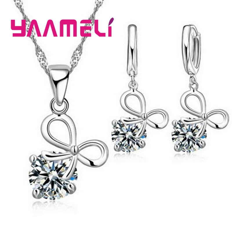 Cute 925 Sterling Silver Fine Jewelry Set Clear Cubic Zircon Bowknot Pendant Necklace Earring for Women Wedding Party