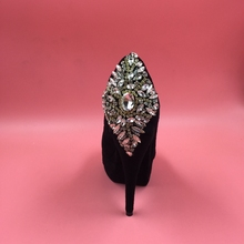 Black Platform High Heels Stilettos Slip-ons Women Pumps Rhinestones Covered Heel OL Shoes Women Ladies Pumps For Party Shoes