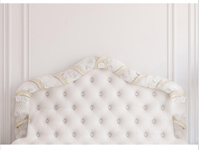 5x7ft Antique White Frame Wall Tufted Leather Bed