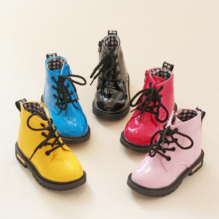 Children Leather Boots Female Male Martin Boots Boys Girls Single Shoes Little Girl Spring Baby Boots Kids Sneaker Free Shipping